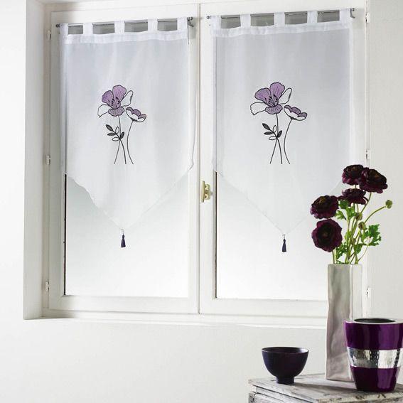 paire de voilages 60 x h160 cm geoly prune rideau et voilage eminza. Black Bedroom Furniture Sets. Home Design Ideas