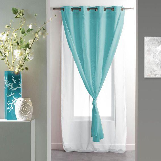 voilage 140 x h240 cm bicolore double bleu voilage eminza. Black Bedroom Furniture Sets. Home Design Ideas