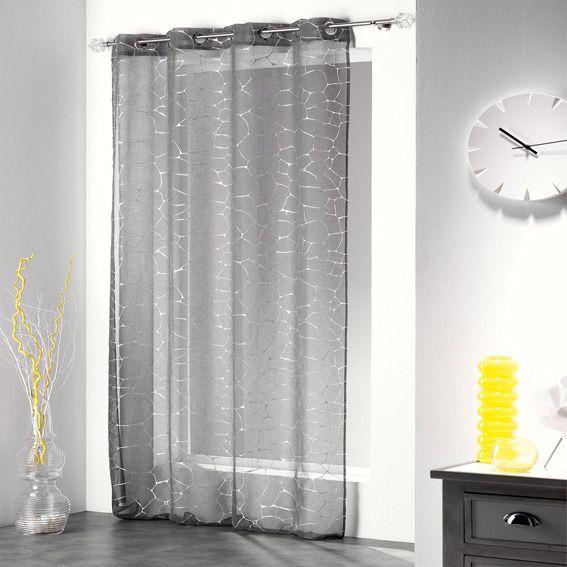 voilage 140 x h240 cm sahel gris voilage eminza. Black Bedroom Furniture Sets. Home Design Ideas