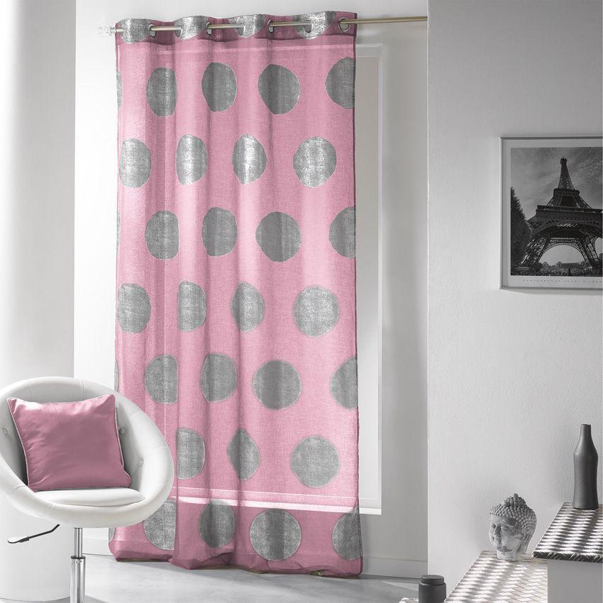 voilage 140 x h240 cm platine rose drag e voilage eminza. Black Bedroom Furniture Sets. Home Design Ideas