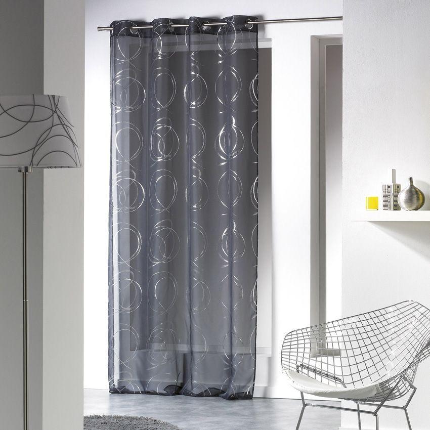 voilage 140 x h240 cm bully anthracite voilage eminza. Black Bedroom Furniture Sets. Home Design Ideas