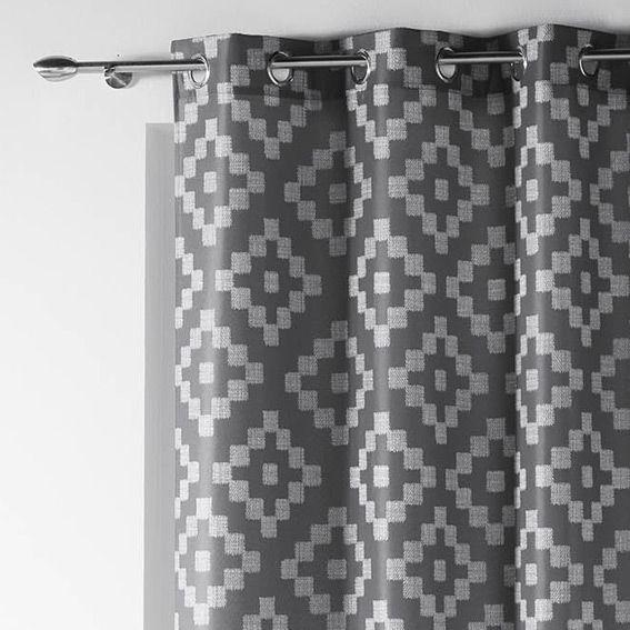 rideau 140 x h260 cm sasha gris rideau tamisant eminza. Black Bedroom Furniture Sets. Home Design Ideas