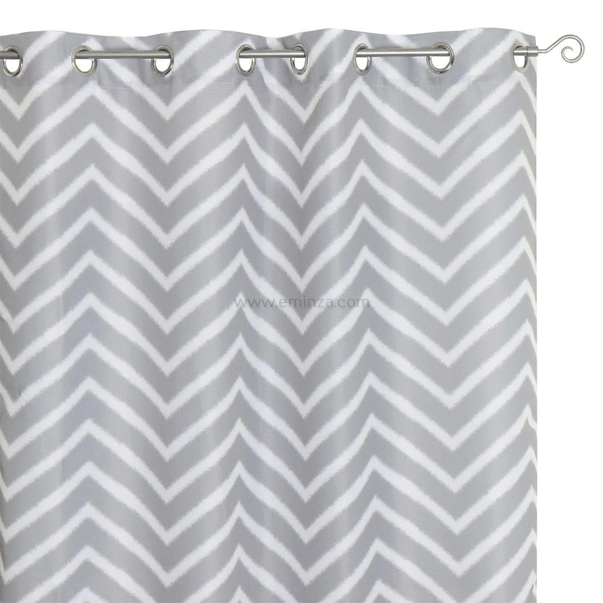 rideau 140 x h260 cm zigzag gris rideau tamisant eminza. Black Bedroom Furniture Sets. Home Design Ideas