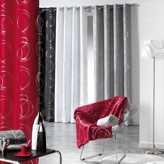 rideau tamisant 140 x h260 cm bully rouge rideau. Black Bedroom Furniture Sets. Home Design Ideas