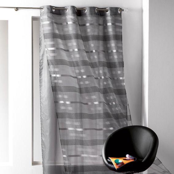 voilage 140 x h240 cm double tamara noir voilage eminza. Black Bedroom Furniture Sets. Home Design Ideas