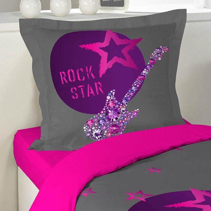housse de couette et une taie 140 cm rock girl housse de couette eminza. Black Bedroom Furniture Sets. Home Design Ideas