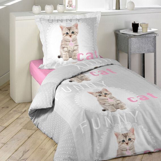 housse de couette et une taie 140 cm funny cat housse. Black Bedroom Furniture Sets. Home Design Ideas