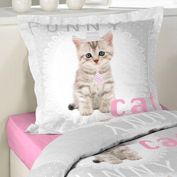 Housse de couette et une taie 140 cm funny cat housse - Housse de couette chat ...