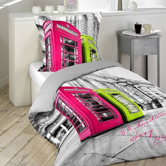 housse de couette et une taie 140 cm phone box color. Black Bedroom Furniture Sets. Home Design Ideas