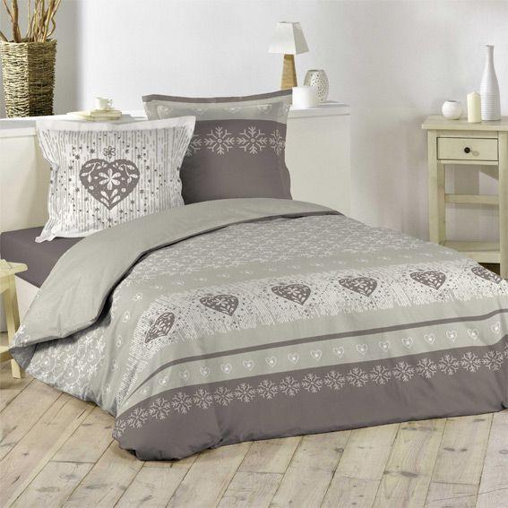 housse de couette et deux taies 200 cm courchevel taupe housse de couette eminza. Black Bedroom Furniture Sets. Home Design Ideas