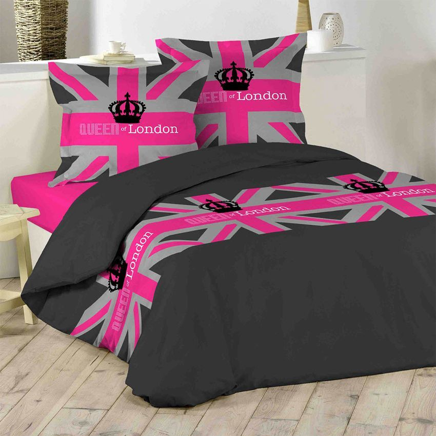 housse de couette et deux taies 240 cm london girl. Black Bedroom Furniture Sets. Home Design Ideas