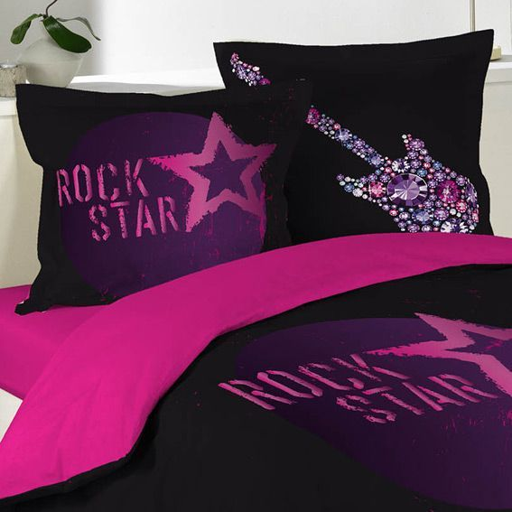 housse de couette et deux taies 200 cm rock girl housse de couette eminza. Black Bedroom Furniture Sets. Home Design Ideas