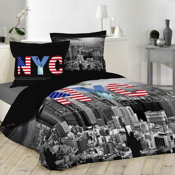 Housse de couette et deux taies 200 cm black ny housse for Housse de couette new york