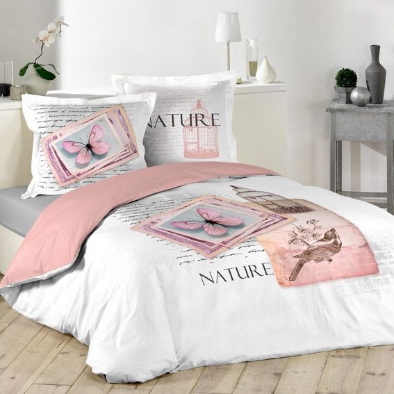 housse de couette et deux taies 200 cm nature pastel. Black Bedroom Furniture Sets. Home Design Ideas