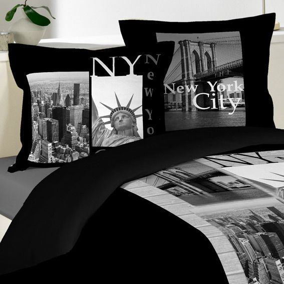 Housse de couette et deux taies 240 cm edison noir housse de couette eminza - Linge de lit new york 1 personne ...