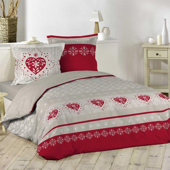 housse de couette et deux taies 260 cm courchevel rouge. Black Bedroom Furniture Sets. Home Design Ideas