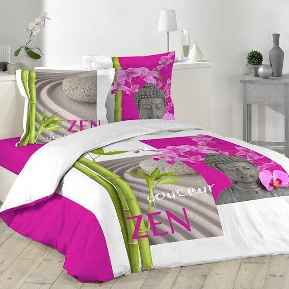 housse de couette et deux taies 240 cm douceur zen housse de couette eminza. Black Bedroom Furniture Sets. Home Design Ideas
