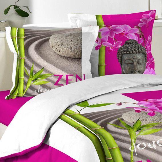 housse de couette et deux taies 260 cm douceur zen housse de couette eminza. Black Bedroom Furniture Sets. Home Design Ideas