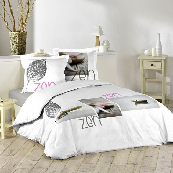 housse de couette et deux taies 260 cm message zen. Black Bedroom Furniture Sets. Home Design Ideas