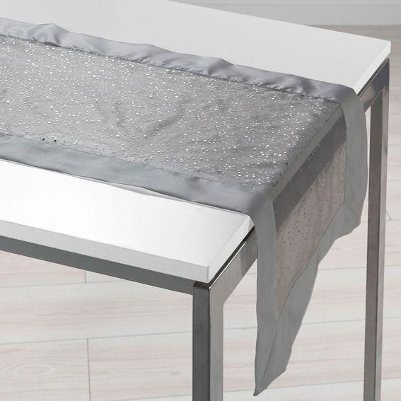 chemin de table l140 cm festille gris linge de table eminza. Black Bedroom Furniture Sets. Home Design Ideas