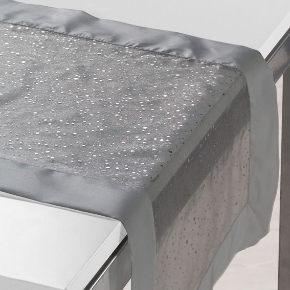 Chemin de table l140 cm festille gris linge de table - Tissu pour chemin de table ...