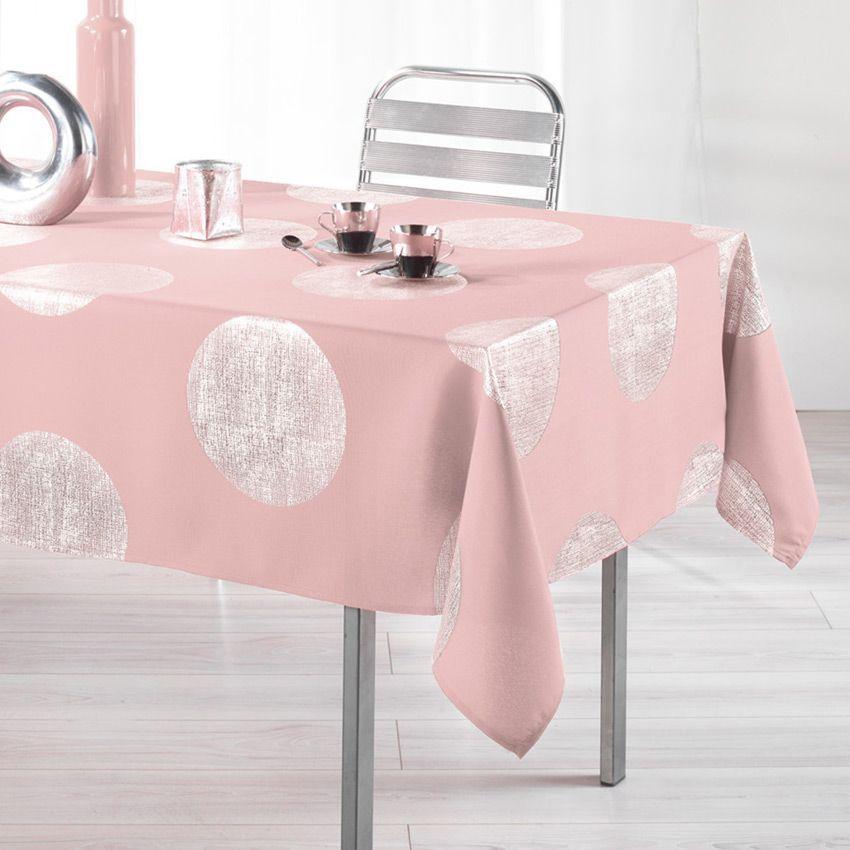 Nappe rectangulaire (L240 cm) Platine Rose dragée - Nappe de table ...