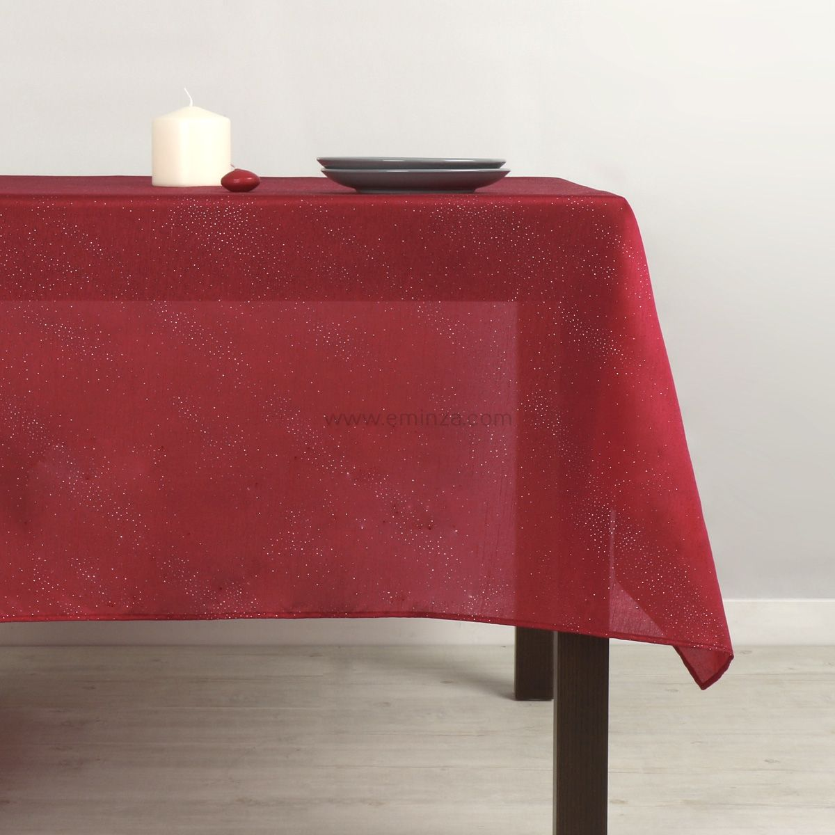 nappe rectangulaire l250 cm shantung rouge linge de table eminza. Black Bedroom Furniture Sets. Home Design Ideas