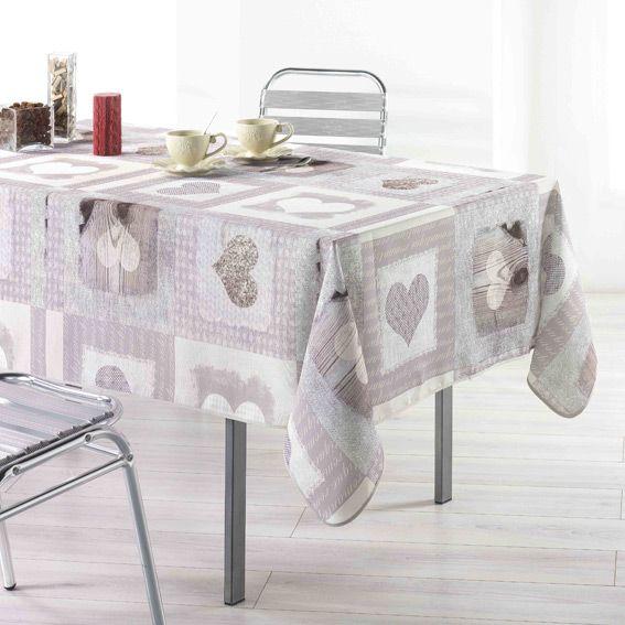 Nappe rectangulaire l240 cm cosy c ur nappe de table for Nappe de table rectangulaire