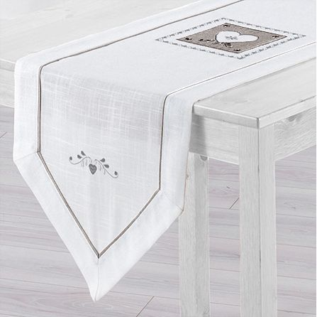 Chemin de table l150 cm amandine brod blanc chemin de table eminza for Chemin de table conforama