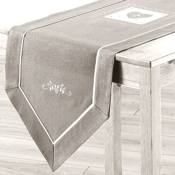 Chemin de table l150 cm amandine brod gris chemin de for Chemin de table gris