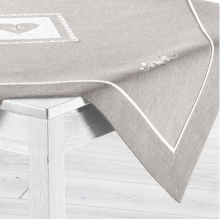 Nappe carr amandine brod gris nappe de table eminza - Nappe de table carre ...