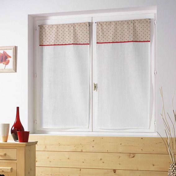 Paire de voilages 60 x h90 cm pauline rouge rideau et for Voilage cuisine 60 x 90