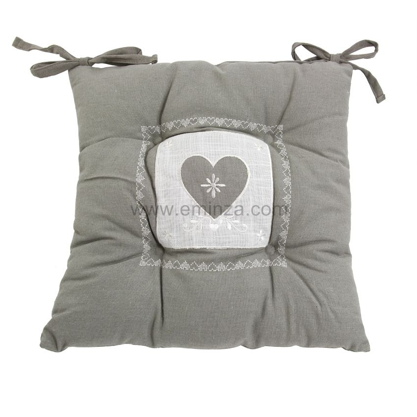 coussin de chaise brod amandine gris galette et coussin de chaise eminza. Black Bedroom Furniture Sets. Home Design Ideas