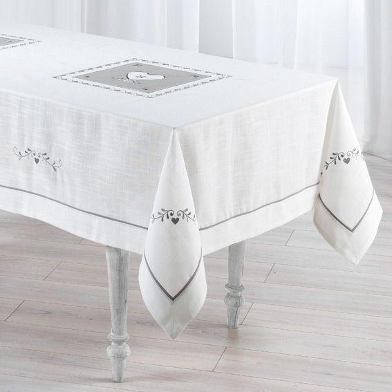 nappe rectangulaire l240 cm amandine brod blanc nappe de table eminza. Black Bedroom Furniture Sets. Home Design Ideas