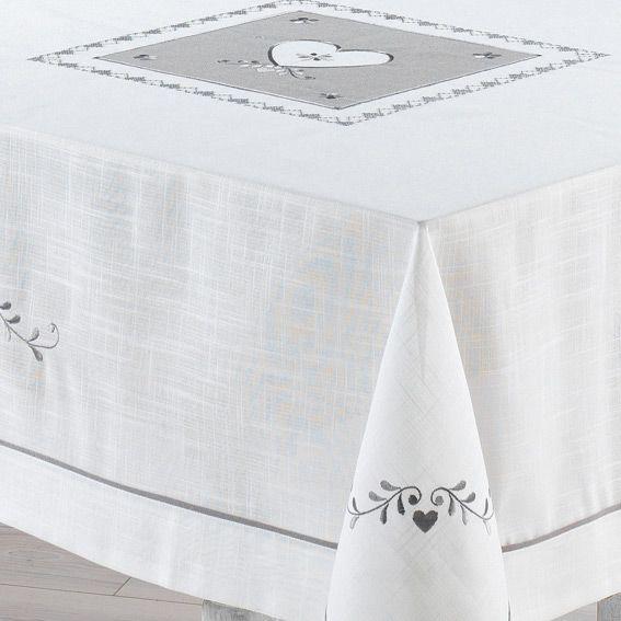Nappe rectangulaire l240 cm amandine brod blanc - Nappe table rectangulaire ...
