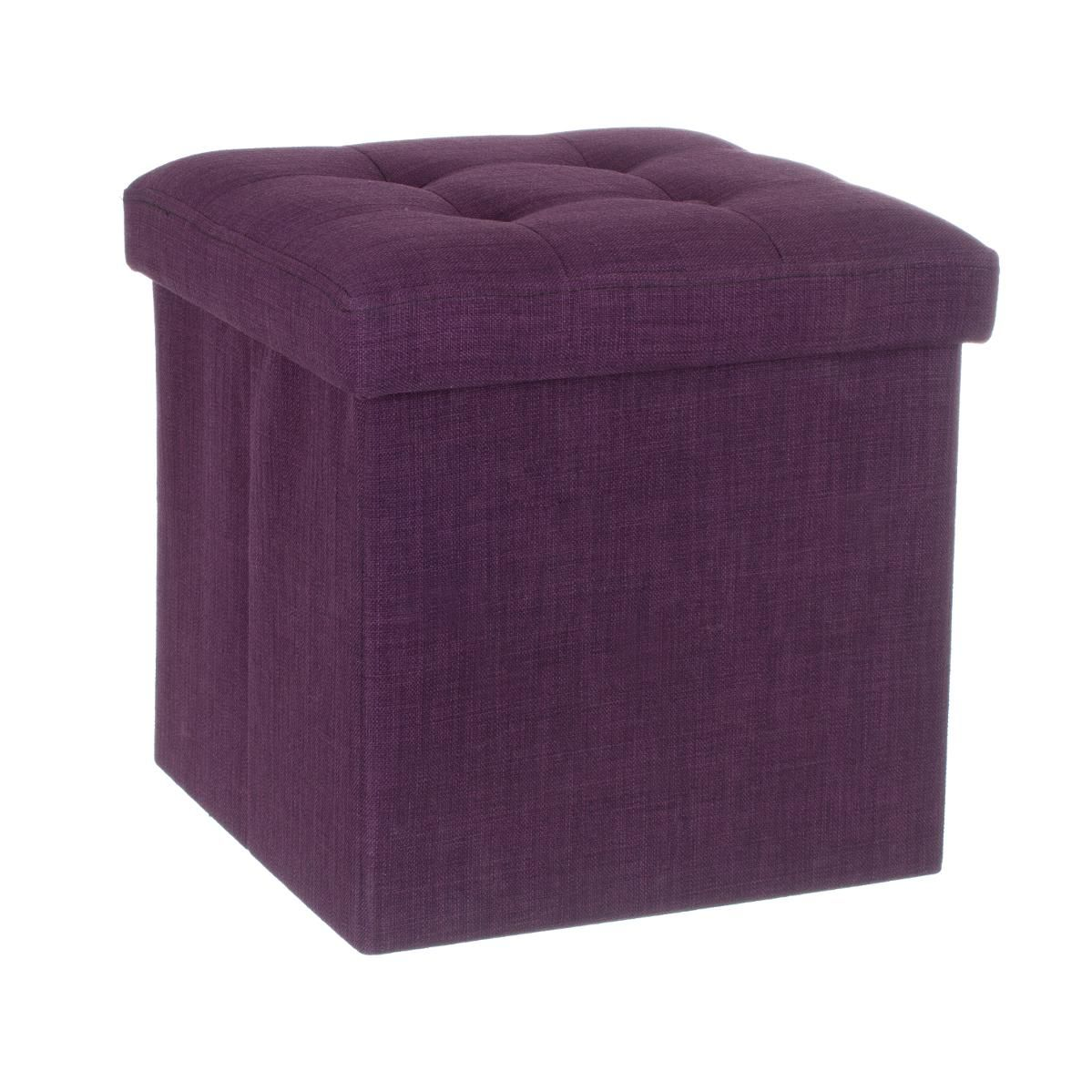 pouf de rangement lysandre violet coussin de sol et pouf eminza. Black Bedroom Furniture Sets. Home Design Ideas