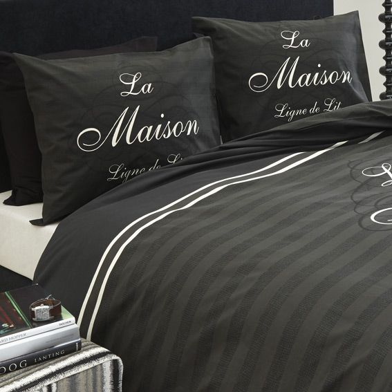 housse de couette et deux taies 240 cm la maison anthracite housse de couette eminza. Black Bedroom Furniture Sets. Home Design Ideas