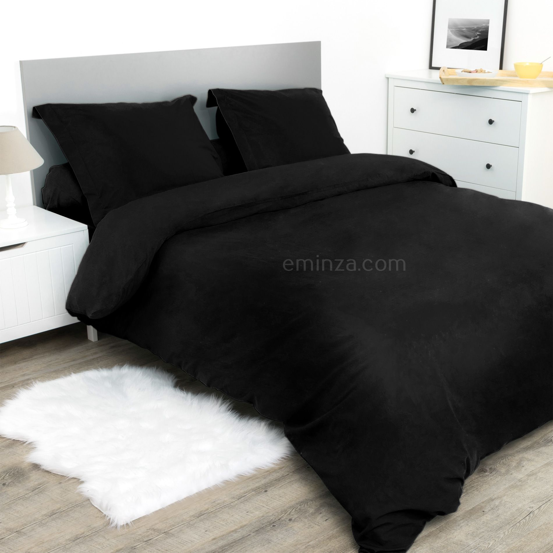drap housse 90 cm confort noir drap housse eminza. Black Bedroom Furniture Sets. Home Design Ideas