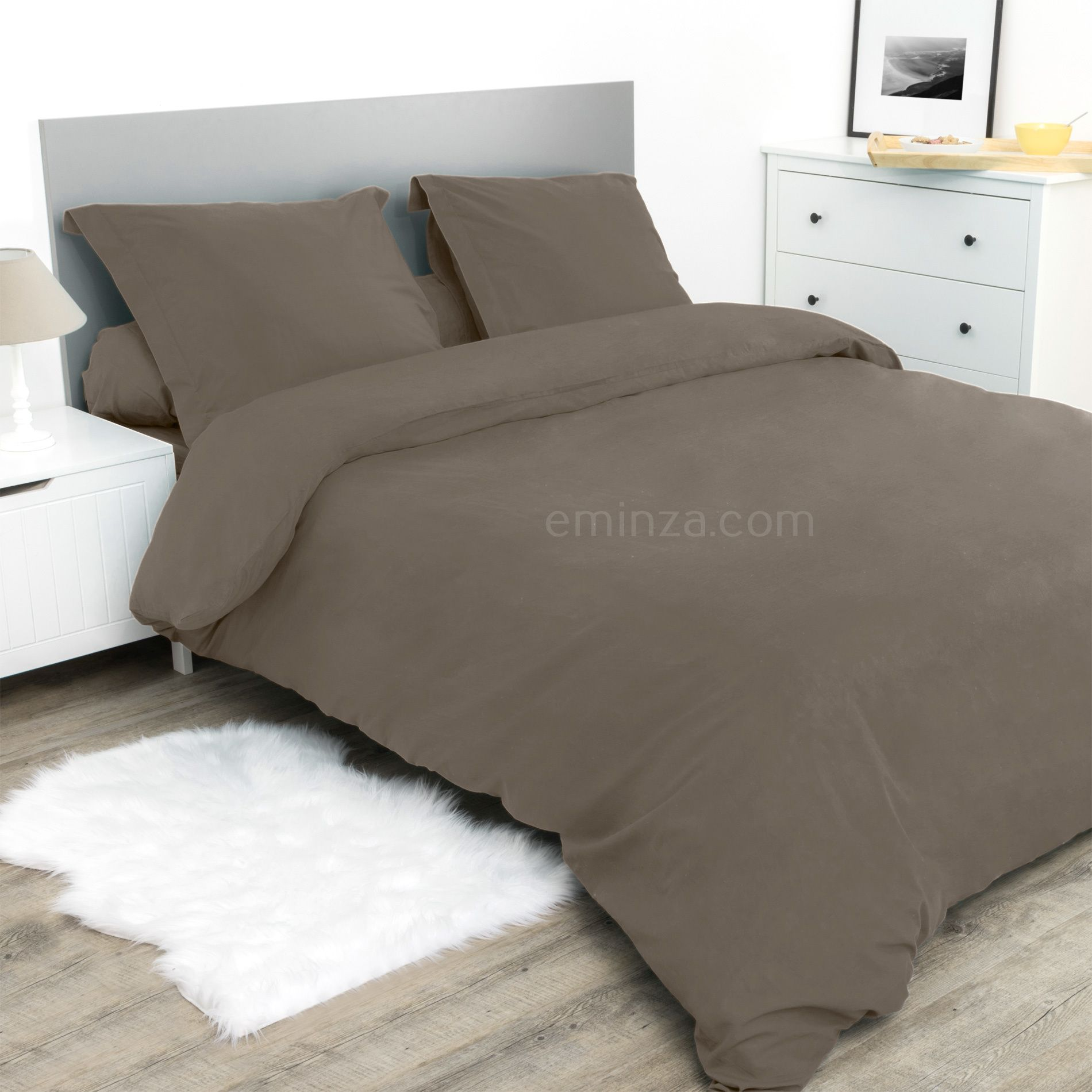 drap housse 160 cm confort taupe drap housse eminza. Black Bedroom Furniture Sets. Home Design Ideas