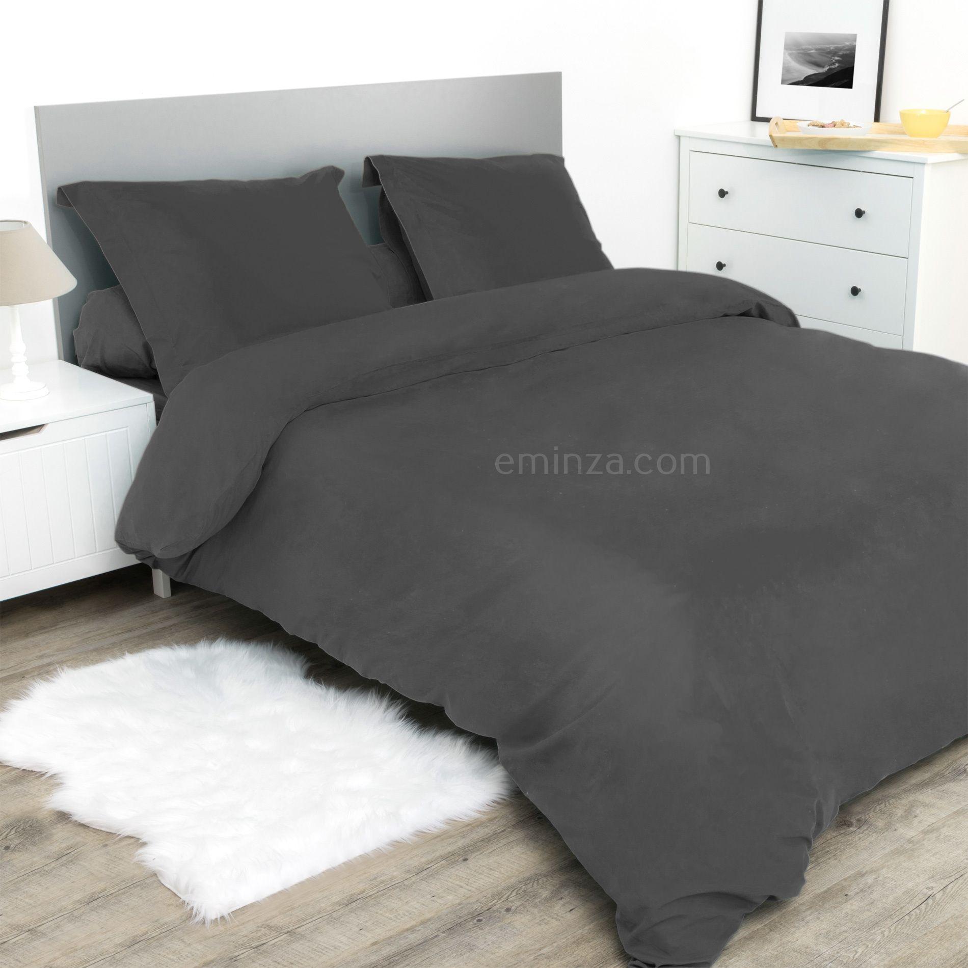 drap housse 160 cm confort anthracite drap housse eminza. Black Bedroom Furniture Sets. Home Design Ideas