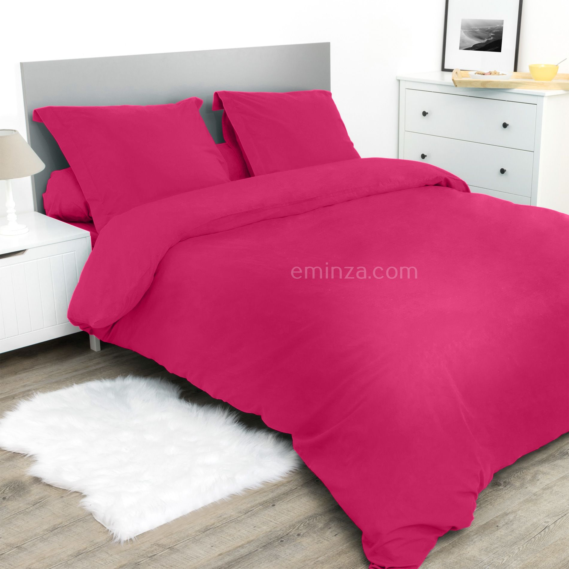 drap housse 160 cm confort fuchsia drap housse eminza. Black Bedroom Furniture Sets. Home Design Ideas