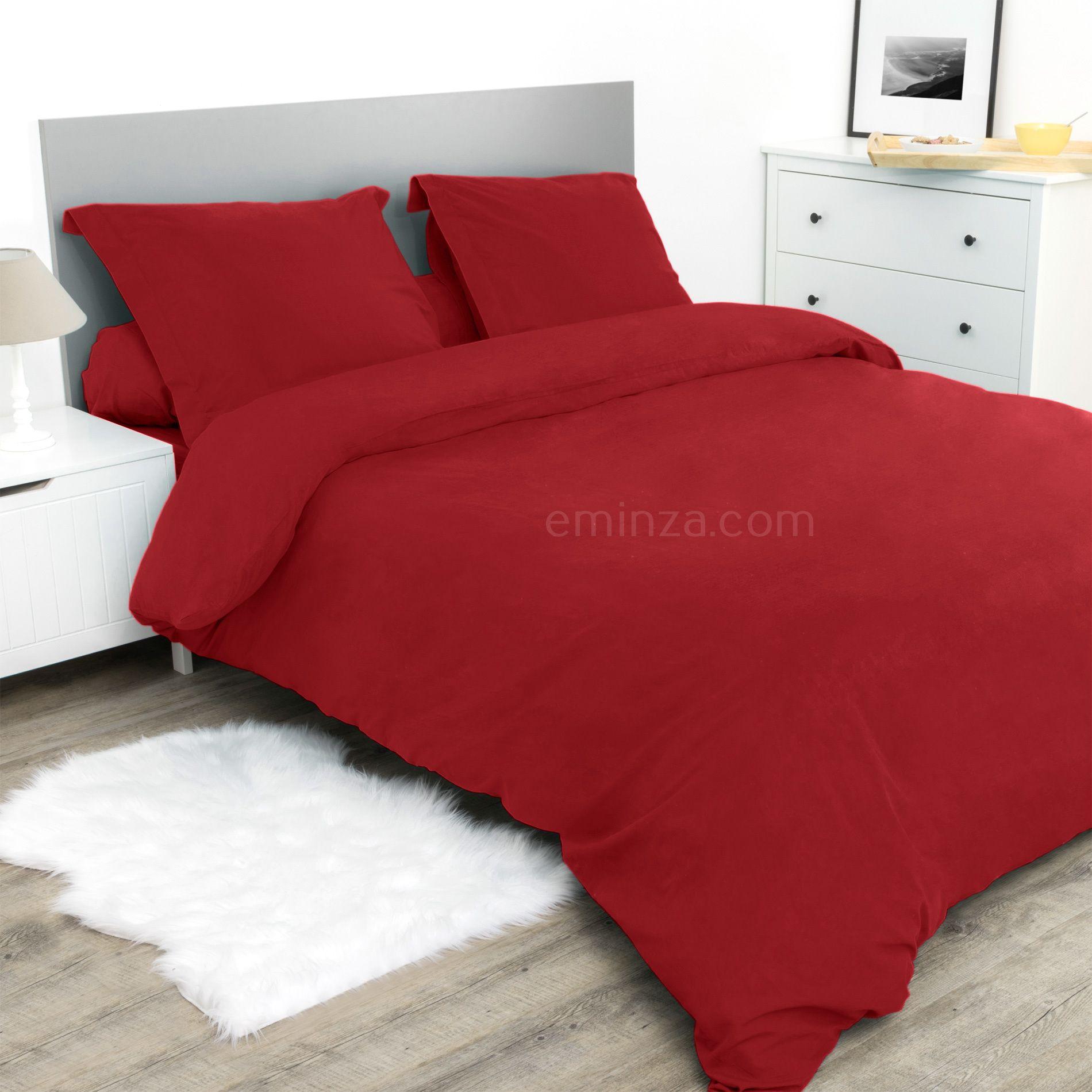 Housse de couette 200 cm confort rouge housse de for Housse de couette rouge