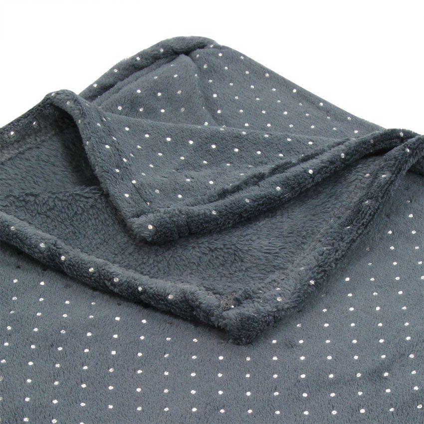 plaid polaire fleece gris plaid cocooning eminza. Black Bedroom Furniture Sets. Home Design Ideas