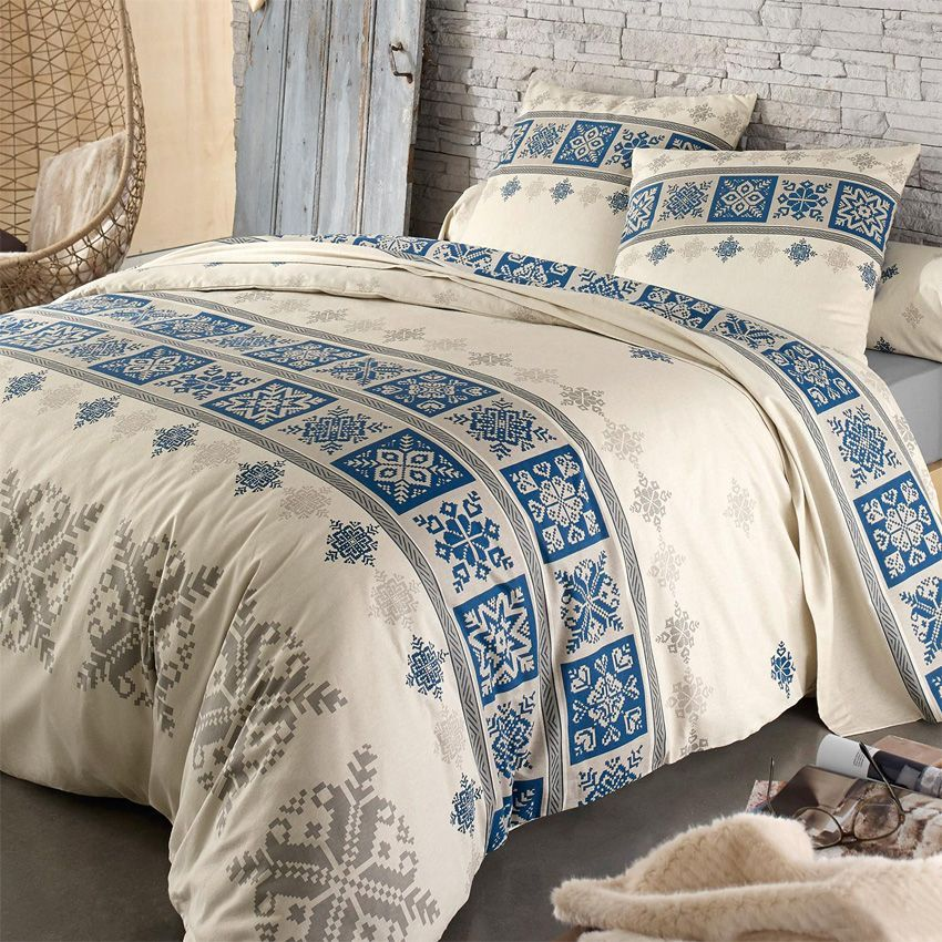 parure de draps 4 pi ces flanelle cork bleu parure de draps eminza. Black Bedroom Furniture Sets. Home Design Ideas