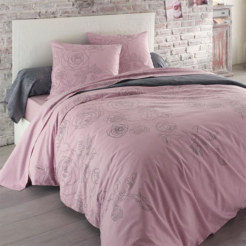 housse de couette et deux taies 240 cm flanelle z lie rose housse de couette eminza. Black Bedroom Furniture Sets. Home Design Ideas