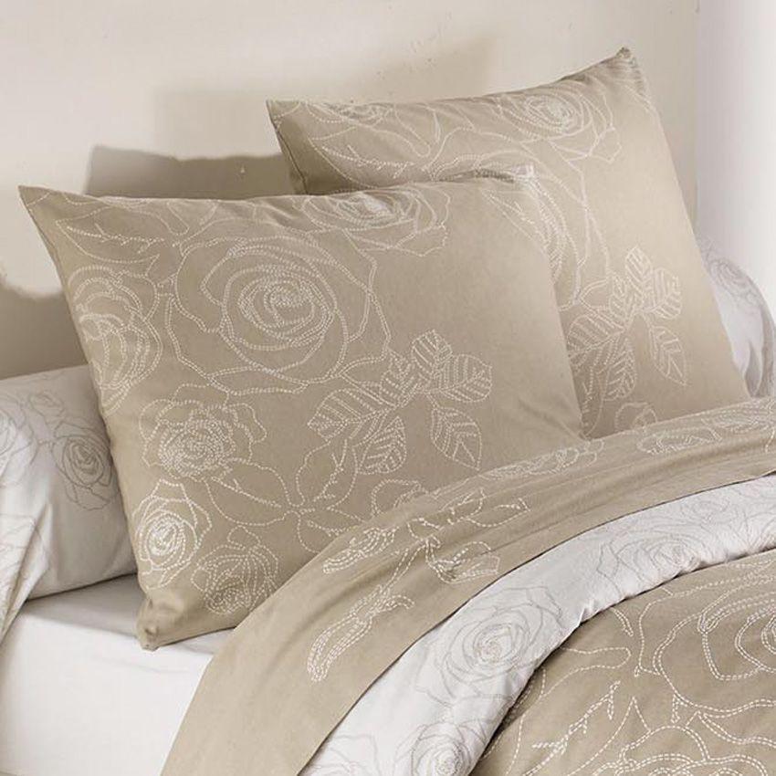 housse de couette et deux taies 260 cm flanelle z lie beige housse de couette eminza. Black Bedroom Furniture Sets. Home Design Ideas