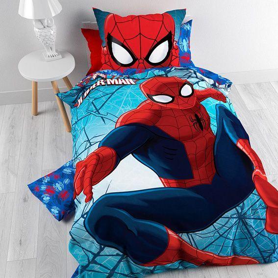 Housse de couette et une taie 140 cm spiderman housse de couette eminza - Housse de couette spiderman carrefour ...