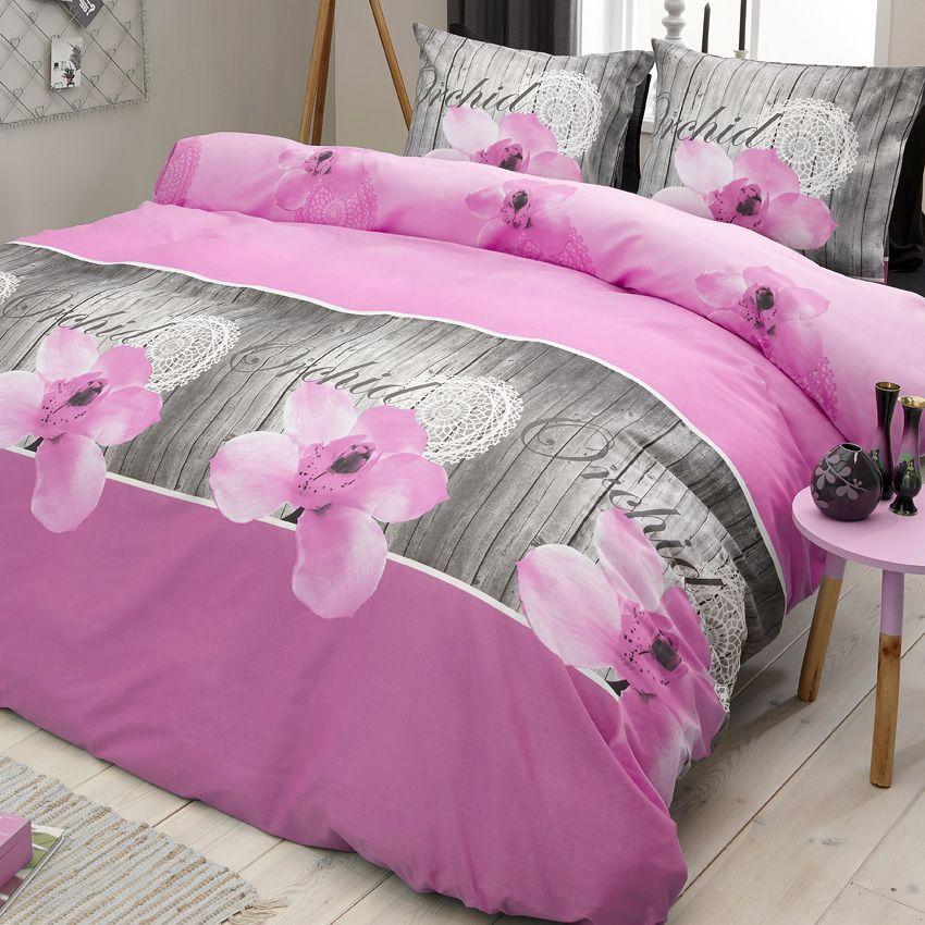 Housse de couette et deux taies 200 cm orchid e rose for Housse de couette rose et taupe
