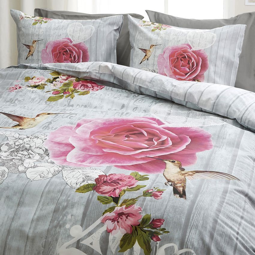 housse de couette et deux taies 200 cm oiseau et la rose. Black Bedroom Furniture Sets. Home Design Ideas