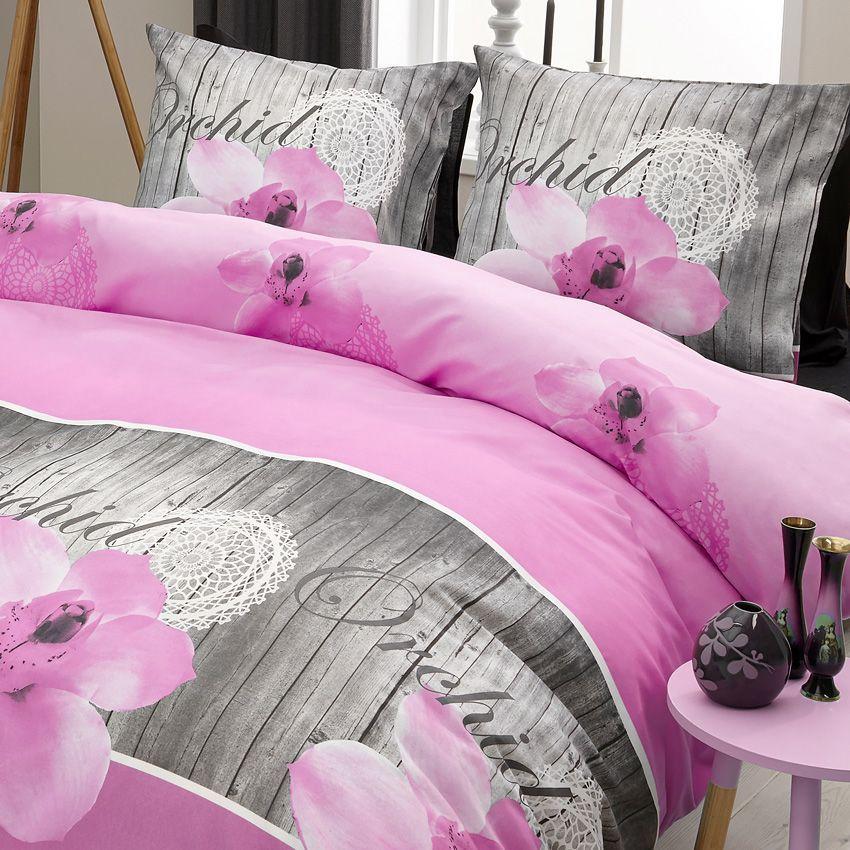 Housse de couette et deux taies 240 cm orchid e rose for Housse de couette rose et taupe